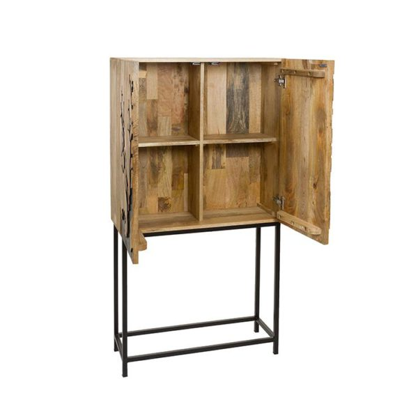 52483 consola mueble bar retro 140 madera y hierro for Mueble bar exterior