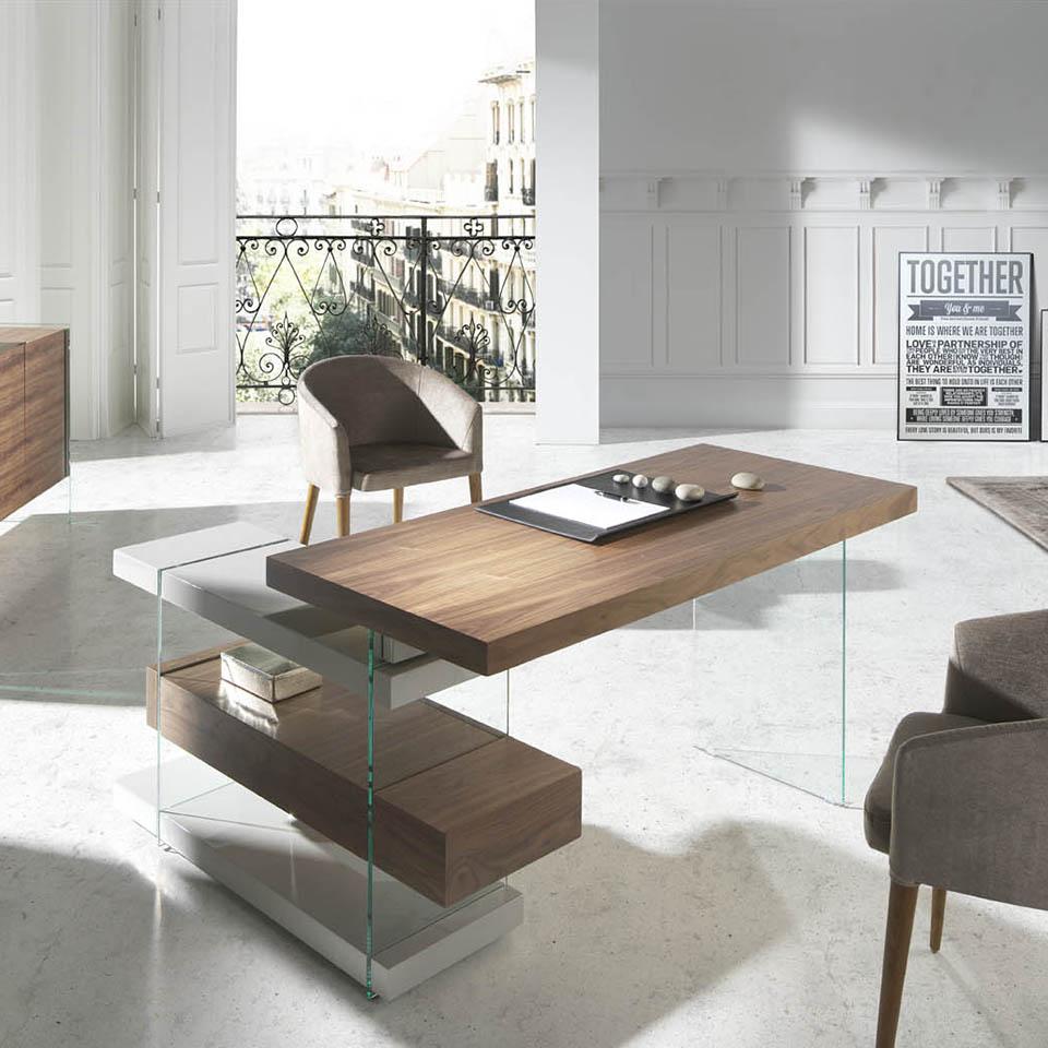 978ot escritorio 140 de dise o moderno cristal y nogal for Diseno de muebles de oficina modernos