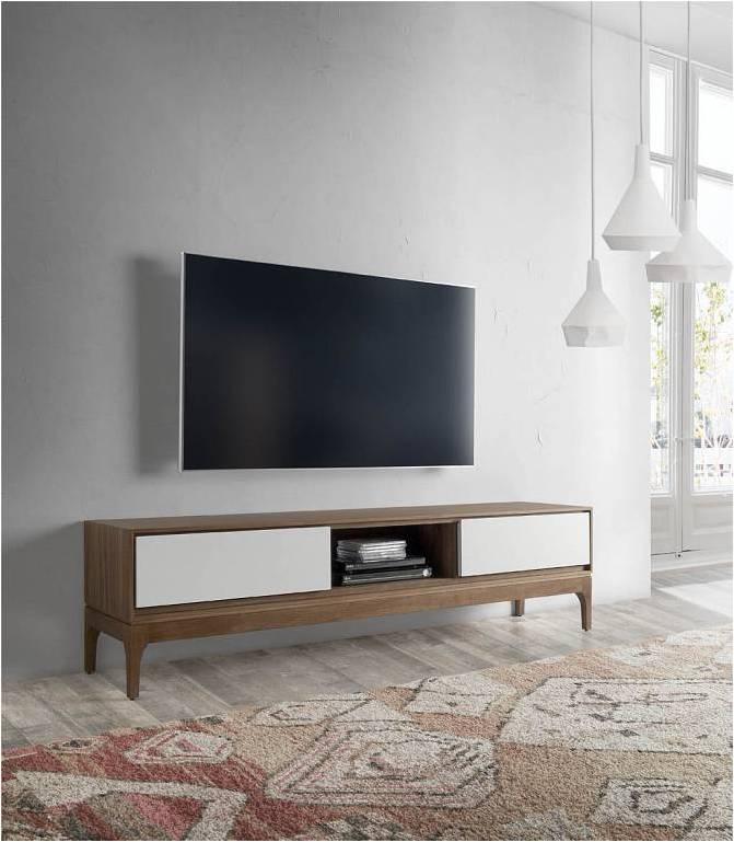 70080 Mueble De Television Nordico Bellini Nogal 180 Madera Y Blanco