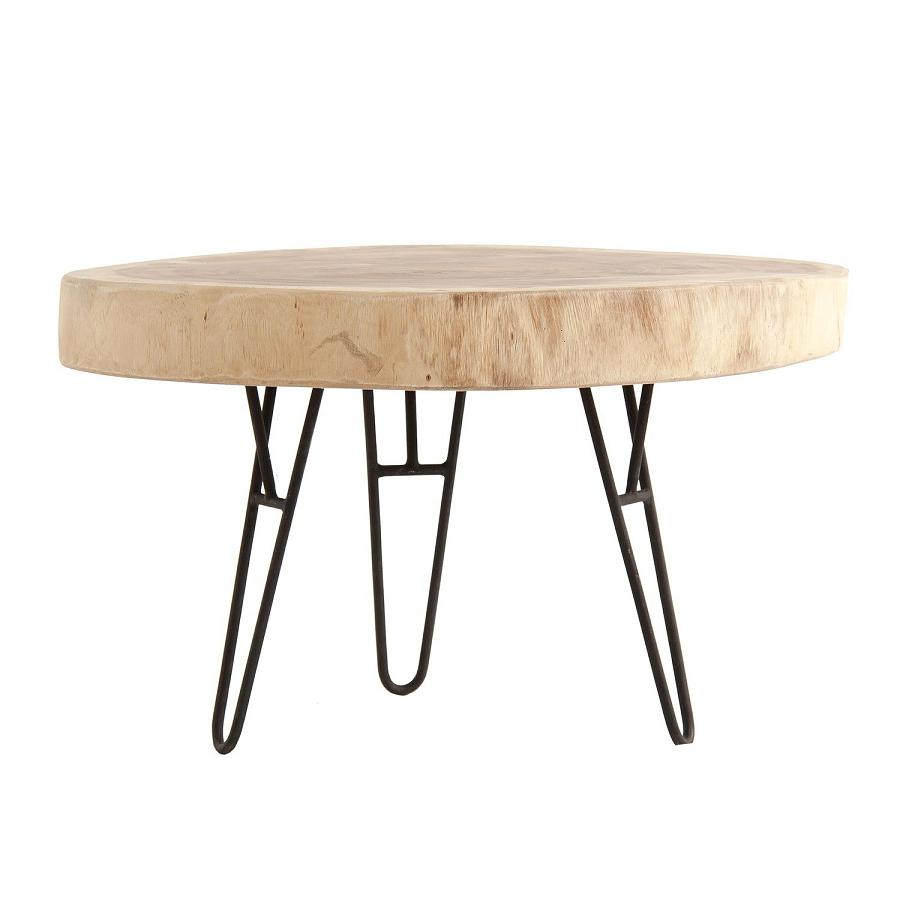24617 mesa de centro redonda de dise o industrial 78 metal for Mesa industrial de madera y metal