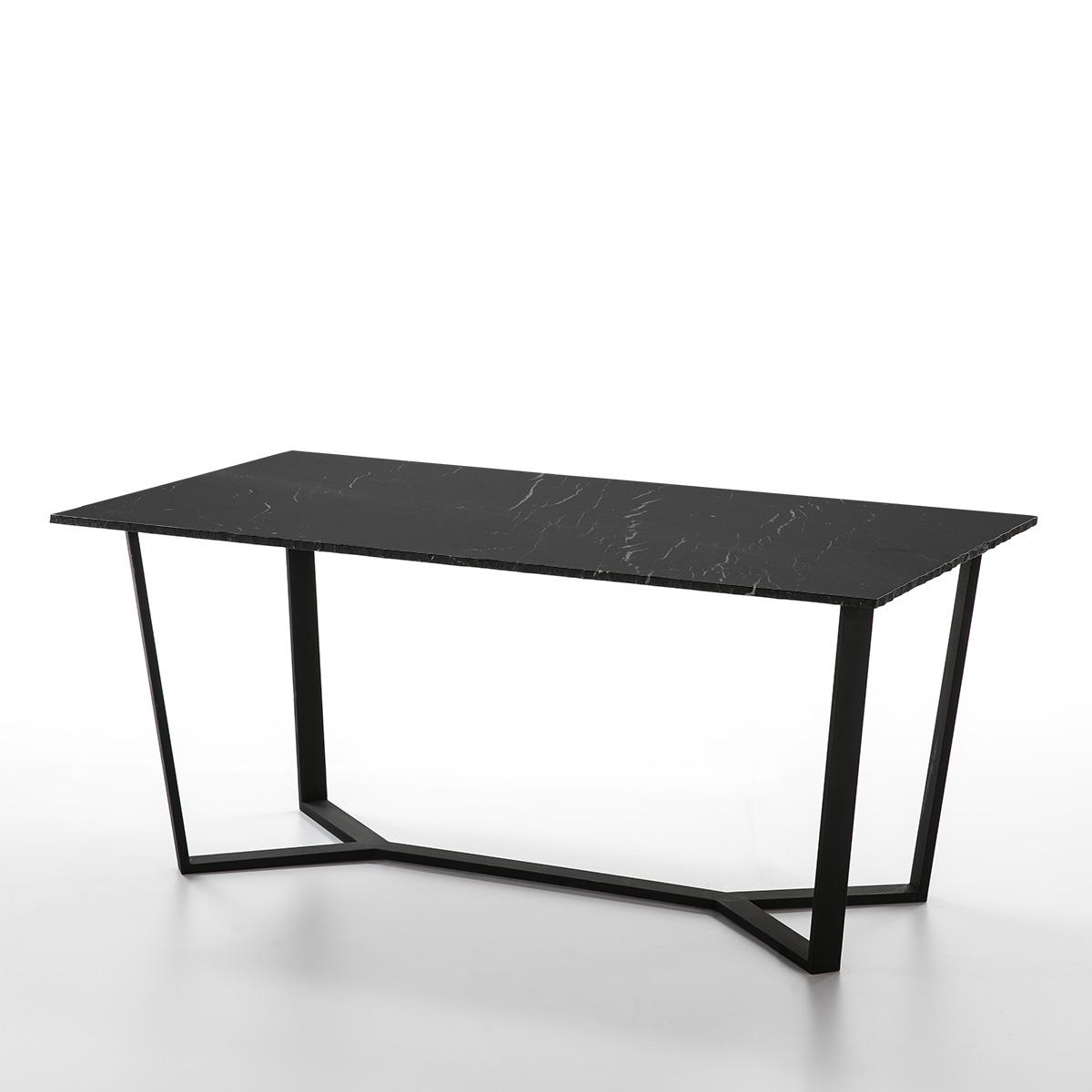10301 Mesa de diseño 180 mármol negro y metal | PRIMERA AVENIDA