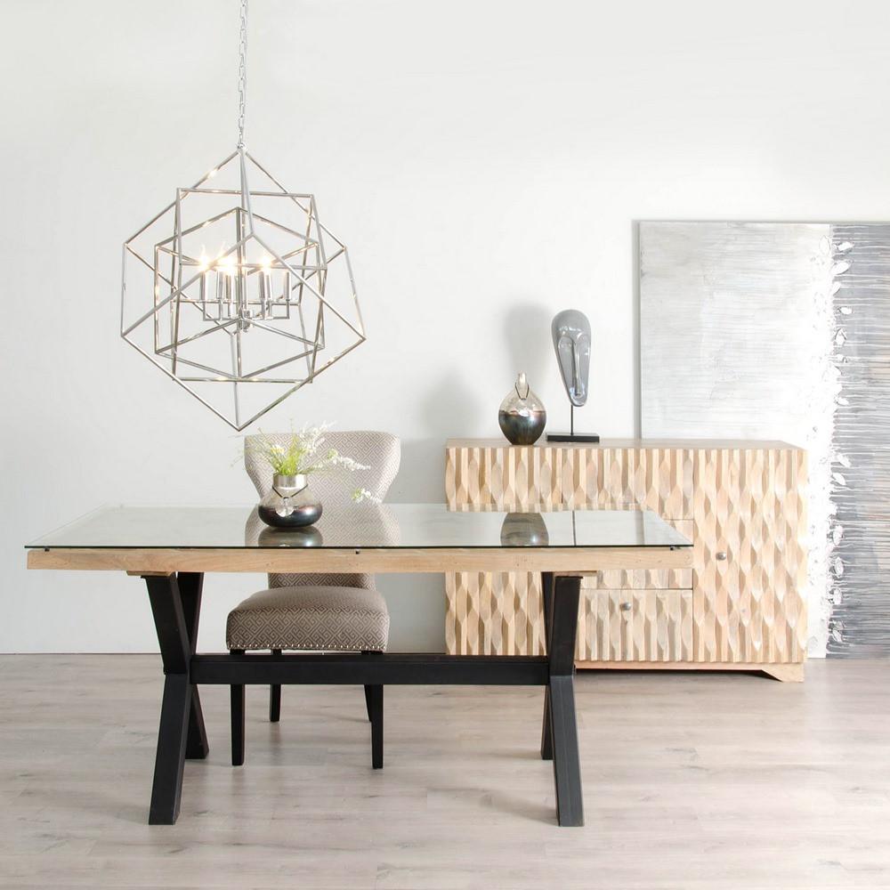 94508 Mesa de comedor de diseño industrial madera tallada, cristal y metal